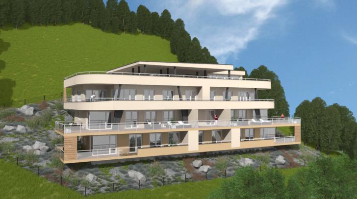Großzügige Terrassen ermöglichen einen einzigartigen Blick auf die umliegende Bergwelt.