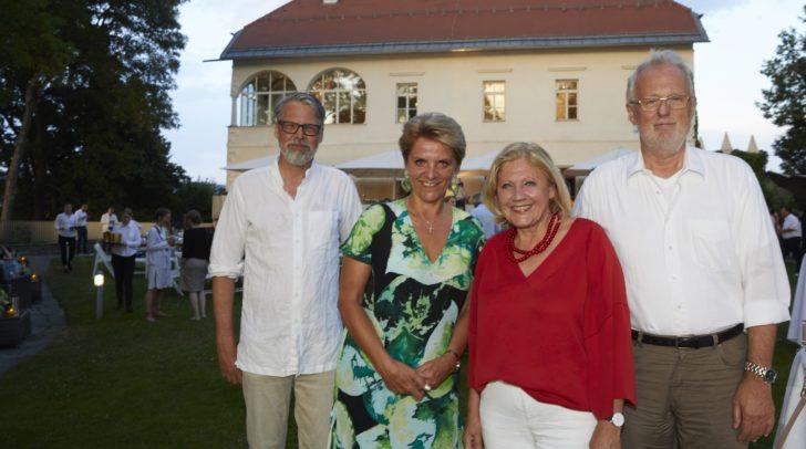 Gastgeberin Bürgermeisterin Dr. Maria-Luise Mathiaschitz mit ORF-Landesdirektorin Karin Bernhard, Bachmannpreis-Koordinator Horst L. Ebner und Jurysprecher Hubert Winkels.