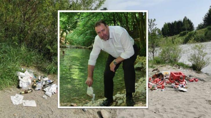 Umweltreferent Erwin Baumann fand auch beim Maibachl jede Menge Müll.