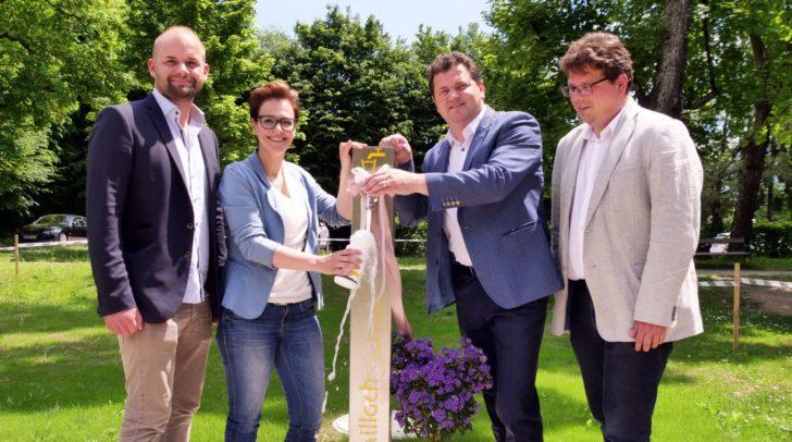 Stadträte Spanring und Pober mit Wolfgang Lukeschitsch und Hubert Isopp