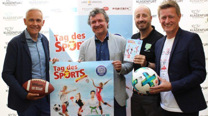 Sportreferent Vizebürgermeister Jürgen Pfeiler, Mag. Johann Wolf (Bildungsdirektion), Franziskus Bertl (UWG) und Landessportdirektor Mag. Arno Arthofer stellten gemeinsam den Tag des Sports am 19. Juni vor.