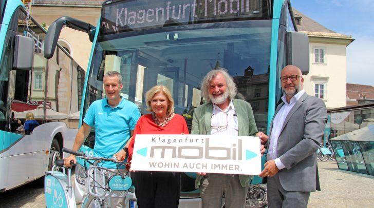 Bürgermeisterin Dr. Maria-Luise Mathiaschitz und Stadtrat Frank Frey mit DI Erwin Smole (re.) und Dr. Wolfgang Hafner stellten das neue Mobilitätskonzept vor.