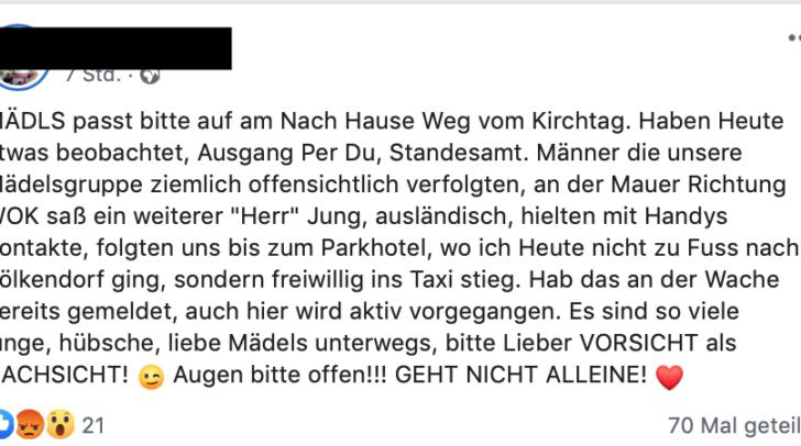 """Auf Facebook warnt die Leserin: """"Mädels, Augen auf!"""""""