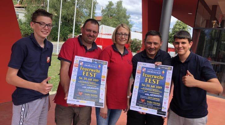 Freuen sich auf das große Feuerwehrfest am kommenden Samstag in Drobollach: Von links Lukas Markowitz, Bernhard Gailer, Kommandant-Stv. Alexander Gasperschitz und Raphael Preinz.