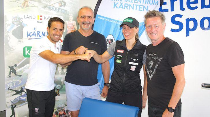 (v.r.n.l) Kevin Haselsberger (Olympiazentrum Kärnten), Zsolt Zakarias, Sandra Pollak und Landessportdirektor Arno Arthofer