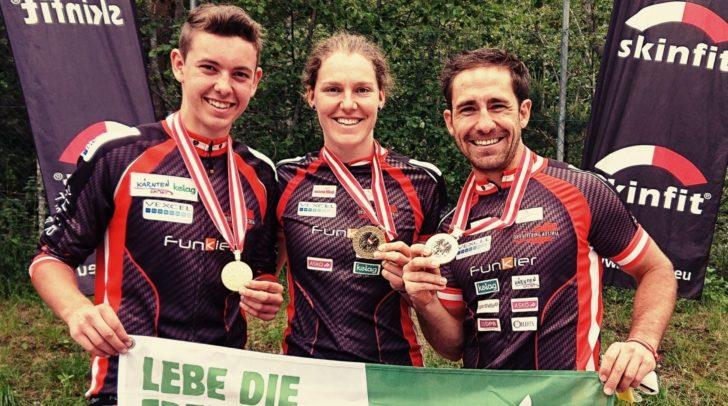 Georg Koffler, Marina Reiner und Kevin Haselsberger (v.l.) starten am Wochenende bei der WM in Dänemark.