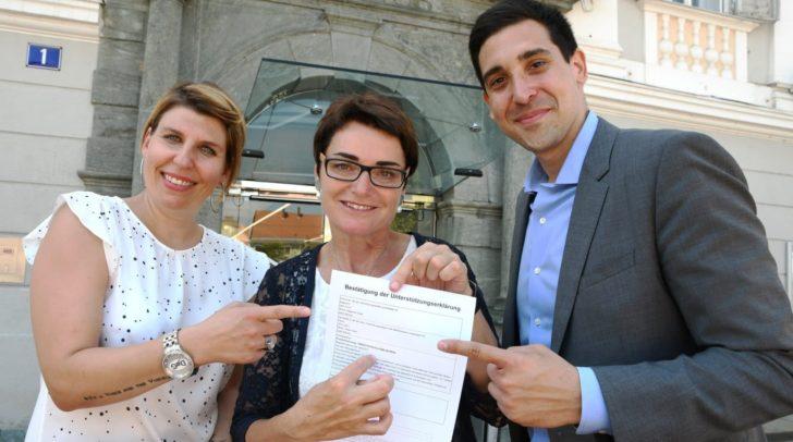 v.l.n.r.: Sandra Planer (Koordinatorin des Tierschutzvolksbegehrens Kärnten), LHStv.in Beate Prettner und Initiator Sebastian Bohrn Mena.
