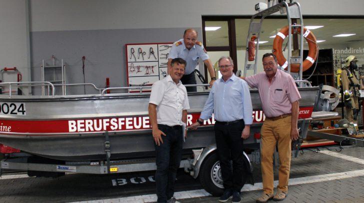 Feuerwehrreferent StR Christian Scheider, BF-Kommandant Gottfried Strieder, Prim. Dr. Wilhelm Kaulfersch und Erwin Stocker vom Zivilschutzverband gaben Hitzetipps bei einem gemeinsamen Pressegespräch.