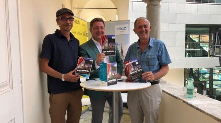 v.l.: Kinosommer-Intendant Fritz Hock, Bürgermeister Günther Albel und Gerhard Stroitz, Vorsitzender des Tourismusverbandes Villach, präsentierten heute das Programm des Kinosommers 2019.