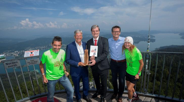Rudi Reitberger, LH Peter Kaiser, Bgm Karl Dovjak und KLC Präsident Werner Pullnig und Läuferin Marlies Penker freuen sich auf den Pyramidenkogellauf.