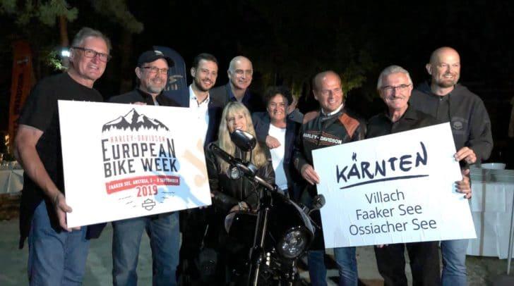 Special Guests am Faaker See: Karen und Bill Davidson sowie Franz Klammer besuchten das Harely-Treffen.