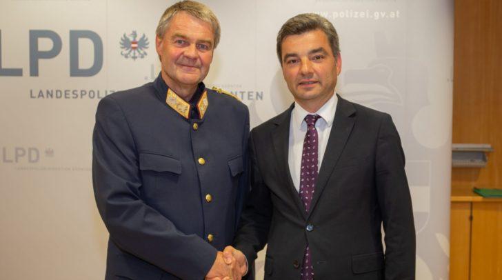 Landespolizeidirektor-Stv. Hofrat Markus Plazer mit Innenminister Wolfgang Peschorn