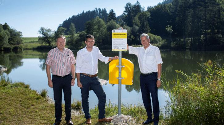 LH Peter Kaiser eröffnete mit Bgm Lukas Wolte und LR Martin Gruber den 21. freien Seezugang in Kärnten.