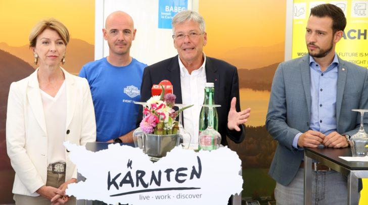 LHStv.in Gaby Schaunig, Trevor Barton (European Bike Week), LH Peter Kaiser und LR Sebastian Schuschnig.