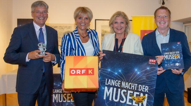 LH Peter Kaiser, Direktorin Karin Bernhard (ORF), Buergermeisterin Maria-Luise Mathiaschitz und Organisator Jürgen Gachowetz (Lange Nacht der Museen).