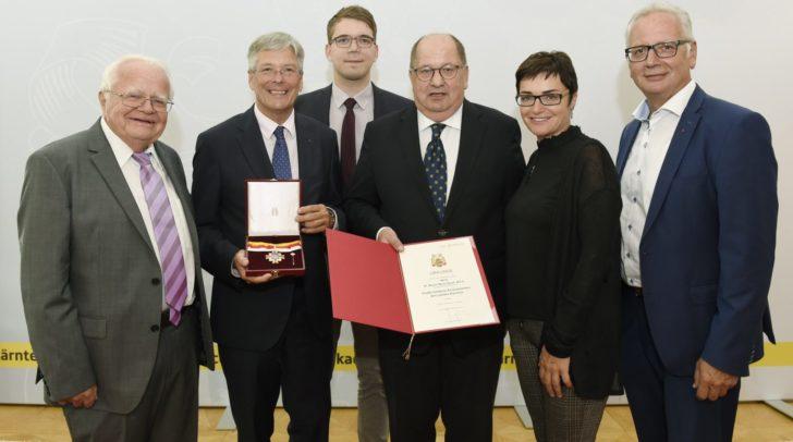 Josef Feldner, LH Peter Kaiser, Manuel Jug, Marjan Sutm, LHStv. Beate Prettner, LT Präs. Reinhard Rohr.