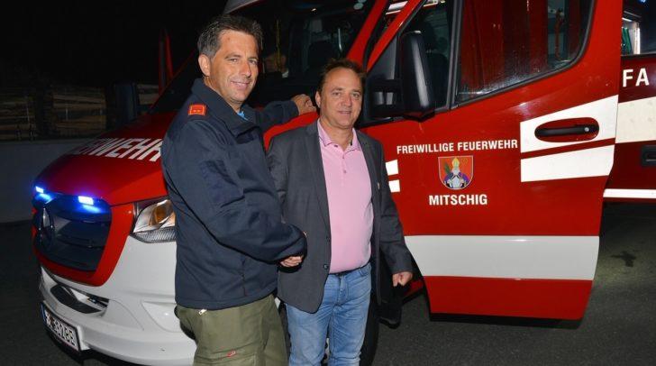 Ortsfeuerwehrkommandant Günther Bachmann und Bürgermeister Siegfried Ronacher.