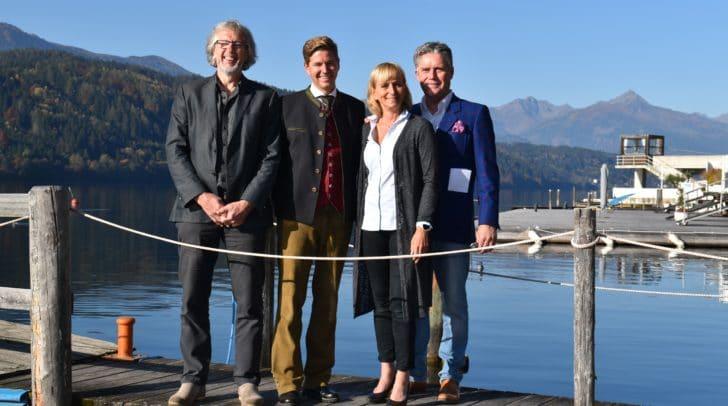 Der Aufsichtsrat der Millstätter See Tourismus GmbH mit Manfred Maier, Melanie Golob und Vorsitzendem Sigismund Moerisch (von links) begrüßt Stefan Brandlehner (2. von links) am Millstätter See.