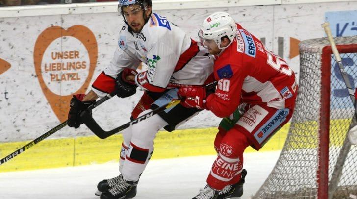 KAC gegen HC Orli Znojmo : Im Bild Matthew Neal, (KAC) und Jakub Stehlik (Znojmo).