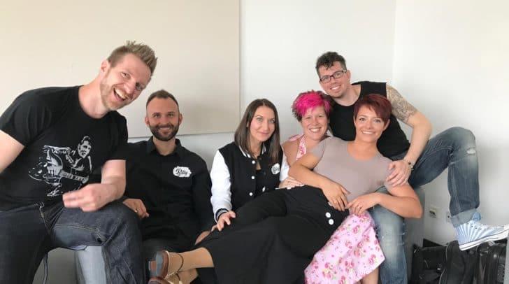 Das Rockthebilly-Team: Florian Beham, David Pirker, Plamena Mandaziehva, Lesly Ann Graf, Saskia Reuter und Rene Taumberger (v.li.)