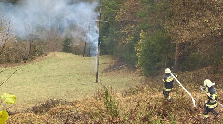 Aus derzeit noch unbekannter Ursache begann ein Strommast zu brennen.