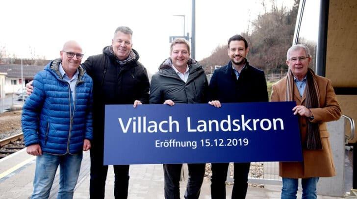 Stadtrat Harald Sobe, Landesrat Sebastian Schuschnig, Bürgermeister Günther Albel, ÖBB-Regionalleiter Siegfried Moser, Projektleiter Karl Zolle.