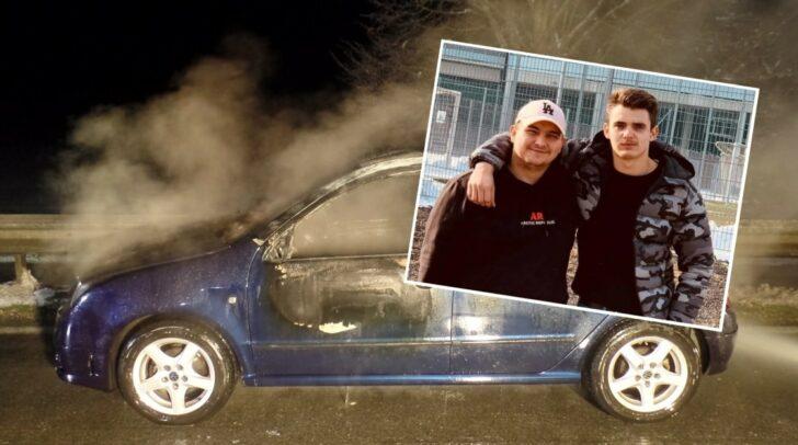 Der 19-jährige Pascal und sein 17-jähriger Freund Florian (v.l.) konnten rechtzeitig aus dem brennenden Fahrzeug flüchten.