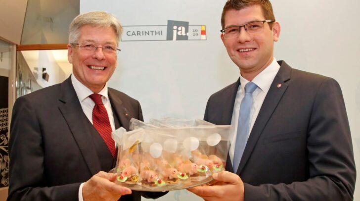 LH Peter Kaiser und LR Martin Gruber bei der Bilanzpräsentation der Kärnten Koalition.
