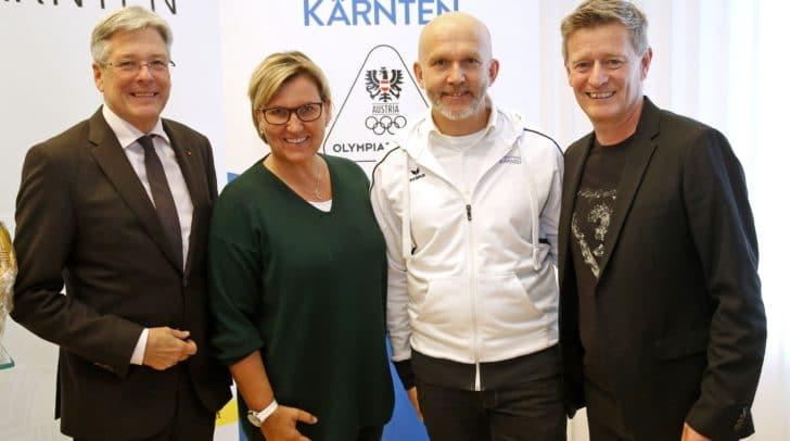 v.l.: LH Peter Kaiser, Dr.in Christiane Loining (Sportmedizin), Walter Reichel (sportl. Leitung), Landessportdirektor Arno Arthofer