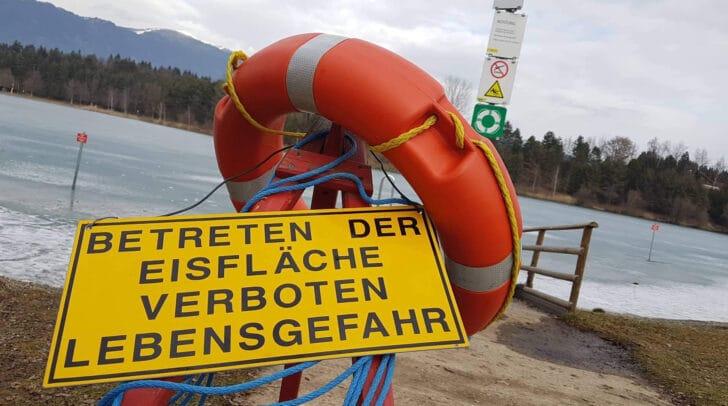 Auch am Silbersee ist das Betreten der Eisfläche verboten. Der See wurde heuer noch nie freigegeben.