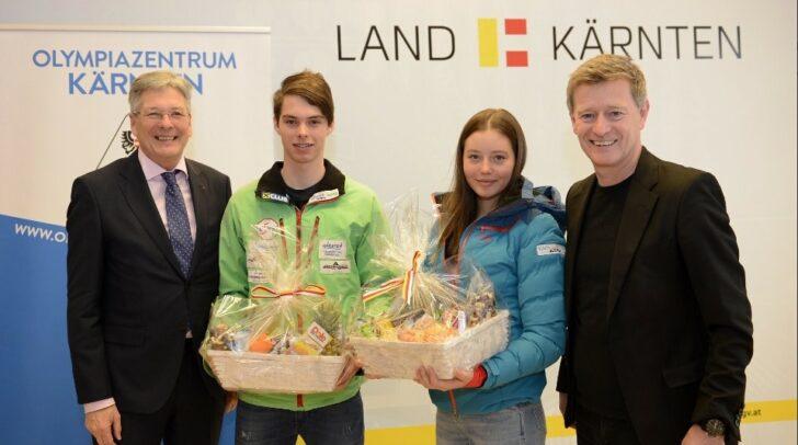LH Peter Kaiser (g.l.) und Landessportdirektor Arno Arthofer (g.r.) gratulieren Ski Alpin-Athlet Philip Hoffmann. Auch am Bild: Biathletin Soli Mesotitsch.