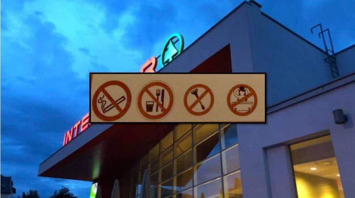 Am WC des Interspar in der Ringmauergasse ist einiges verboten. Einige Kunden würden dort nämlich auch schonmal das Bier oder die Zahnbürste auspacken.