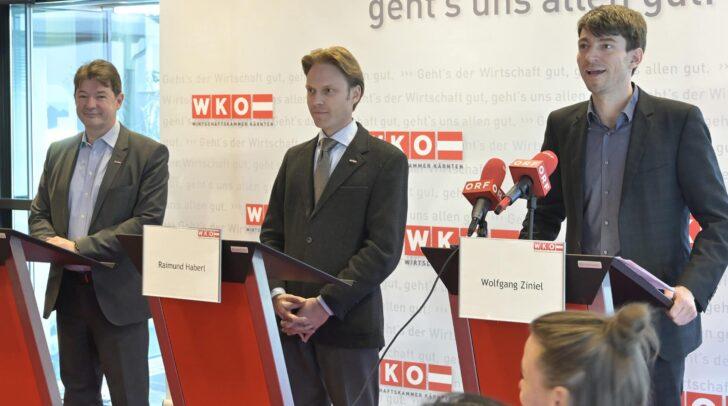Nikolaus Gstättner, WK-Geschäftsführer der Sparte Handel, Raimund Haberl, WK-Obmann der Sparte Handel und Wolfgang Ziniel, KMU Forschung Austria.
