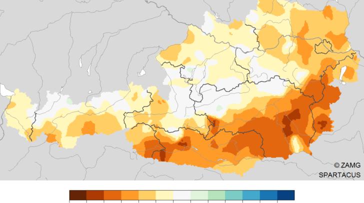 Niederschlag 1. Jänner bis 8. April 2020: Vergleich des Niederschlags mit dem vieljährigen Mittel 1981-2010.