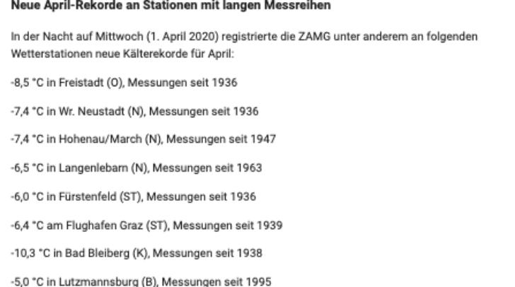 Neue April-Rekorde an Stationen mit langen Messreihen. Quelle: ZAMG