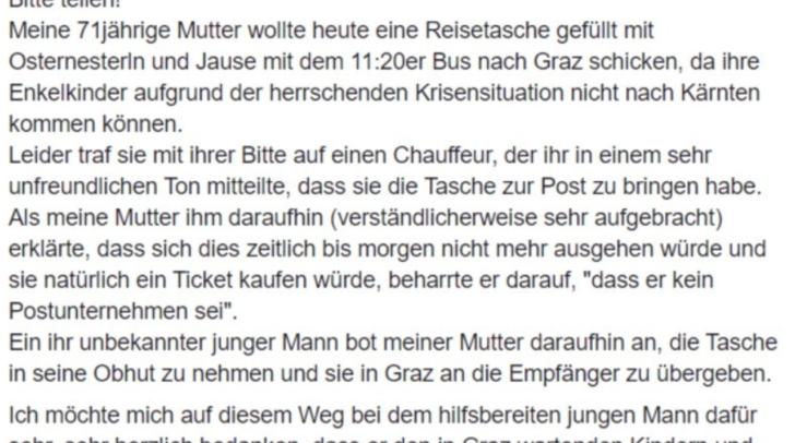 Über ein Facebook-Posting will sich die Familie nun bei dem jungen Mann aus Kärnten bedanken.