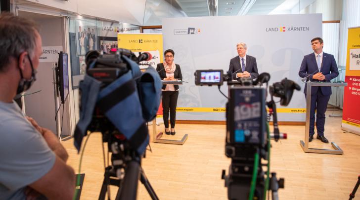 Bei der heutigen Pressekonferenz der Corona Koordinationsgruppe: Sigrid Wucherer, LH Peter Kaiser und LR Martin Gruber.
