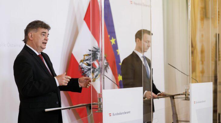 Im Bild Vizekanzler Werner Kogler (l.) und Finanzminister Gernot Blümel (r.).