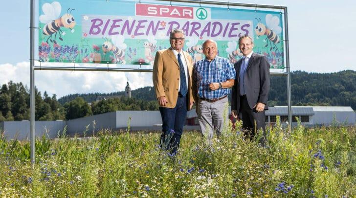 Im Bild: Kurt Stank, Bürgermeister Anton Schmidt, Paul Bacher