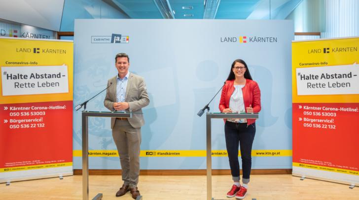 Bei der heutigen Pressekonferenz zum Thema Photovoltaik: LR Daniel Fellner und LR.in Sara Schaar