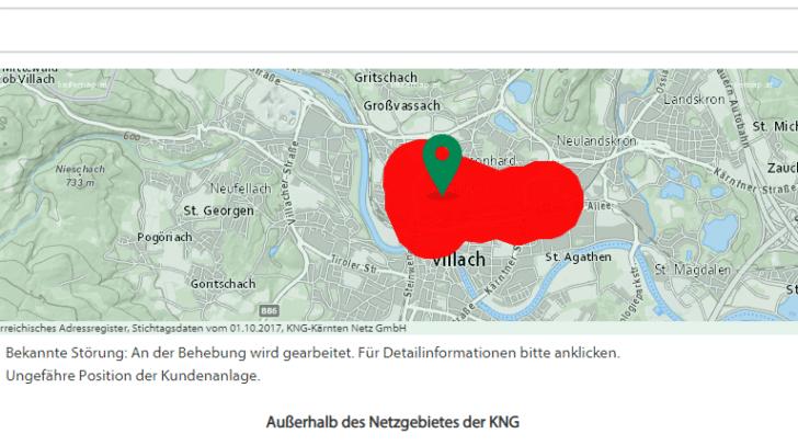 Auch der KNG Störungsdienst zeigt derzeit einen Ausfall im Bereich Villach-Lind an.