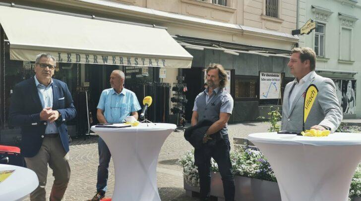 Gerhard Angerer, Gerhard Stroitz, Hubert Marko und Günther Albel bei der heutigen Pressekonferenz