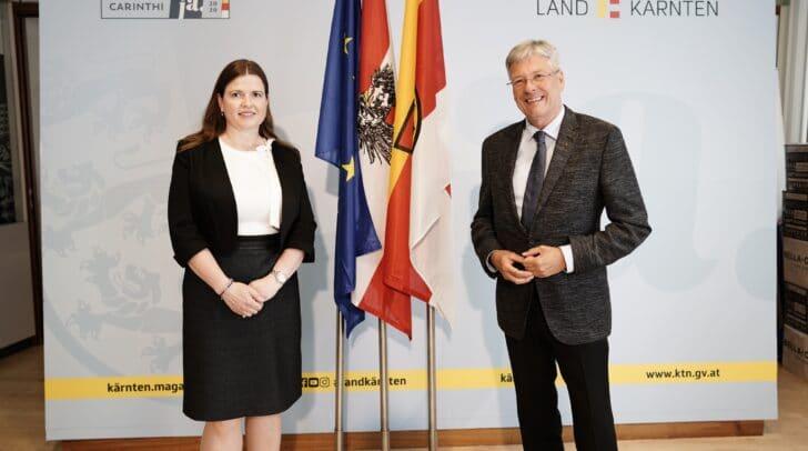 Die neue Vizepräsidentin des Landesverwaltungsgerichtes Tanja Koenig-Lackner und LH Peter Kaiser.