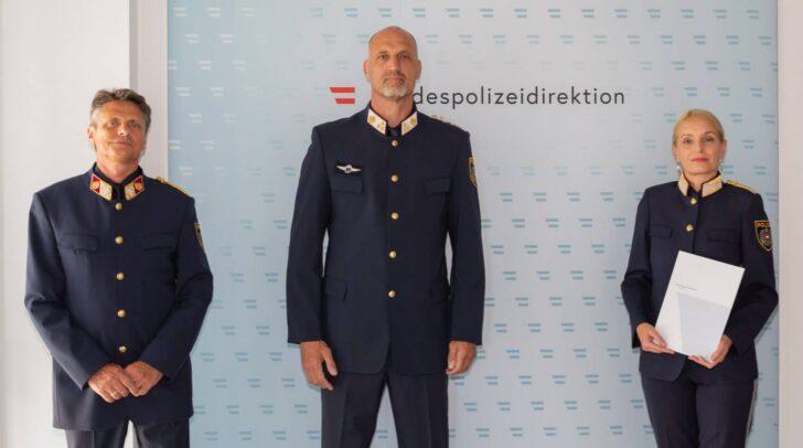 Hofrat Armin Lukmann, Chefinspektor Wolfgang Ebner, Landespolizeidirektorin Michaela Kohlweiß