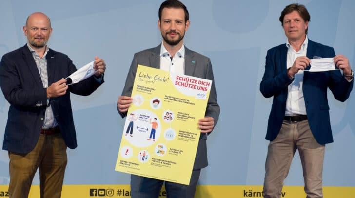 Christian Kresse, LR Sebastian Schuschnig und Spartenobmann Josef Petritsch richten sich gemeinsam an die Tourismusbranche, Gäste und Einheimische.