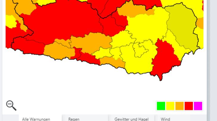 Die UWZ warnt in mehreren Kärntner Bezirken heute Abend vor Gewitter und Hagel.