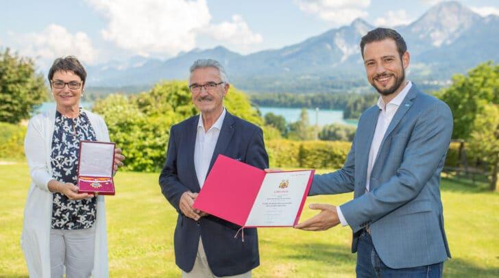 LHStv.in Beate Prettner, Hotelier Helmut Hinterleitner und LR Sebastian Schuschnig