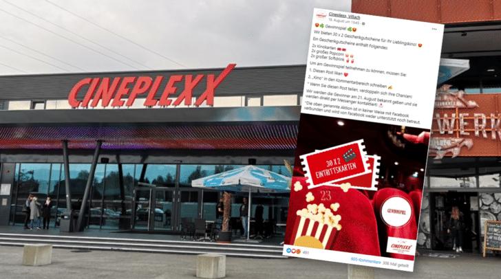 Derzeit kursieren wieder Fälschungen von Cineplexx-Gewinnspielen auf Facebook.