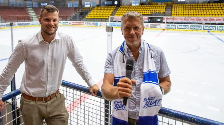 EC VSV-Geschäftsführer Andreas Napokoj mit Gerhard Oberrauner, dem neuen VSV-Hallensprecher