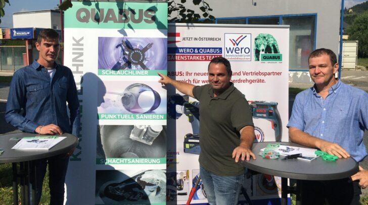 v.l.n.r.: Der neue Leiter des Wasserwerkes Markus Godez mit Christoph Ober (Fa. Quabus) und Stadtwerke-Mitarbeiter Bernhard Riegler.